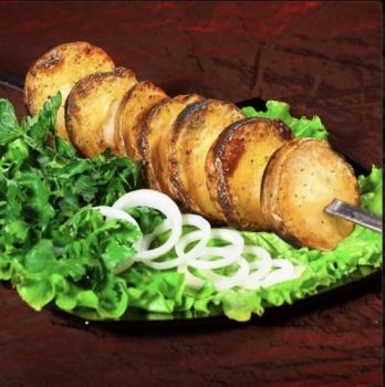 Картофель на мангале с курдюком